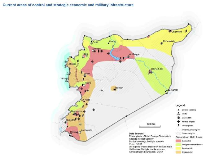 Syria Current areas of control and strategic economic and military infrastructure as of 27 Feb 2013
