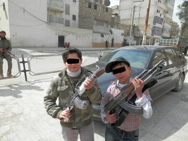 2 children members of an armed group in Syria - photo taken by a Japanese journalist that he gave to me in Beirut