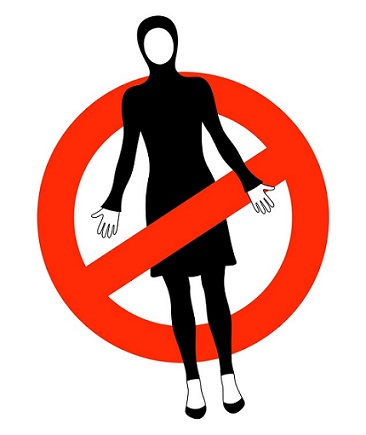Sign stop Islamic swimsuits burkini.