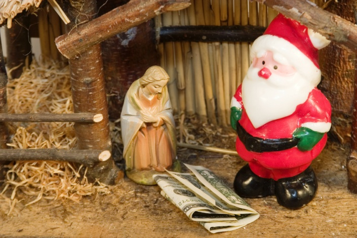 Commercialism vs Christmas Mary Santa and Christ