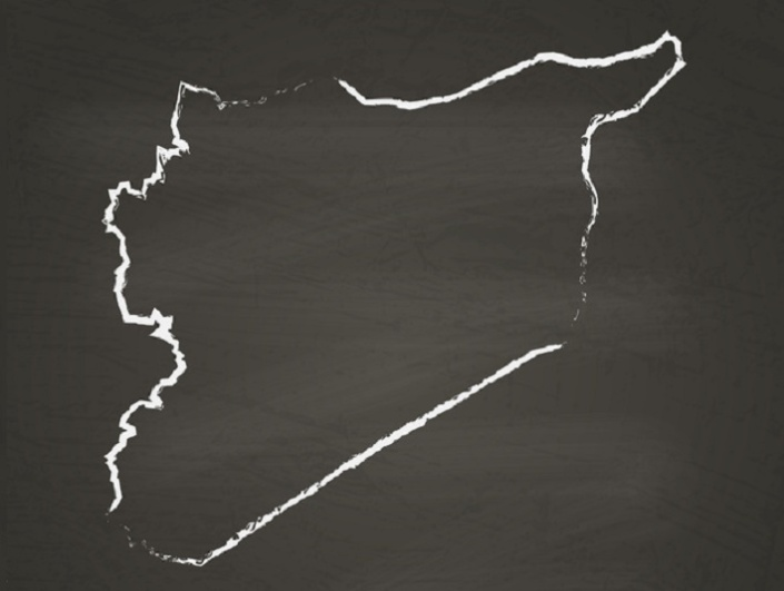 Syrian Arab Republic outline vector map hand drawn with chalk on a blackboard. Chalkboard scribble in childish style. White chalk texture on black background.